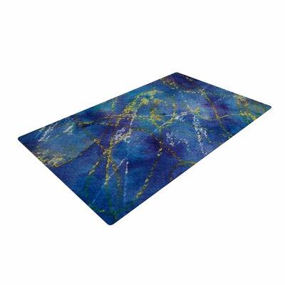 Cyndi Steen Deep Blue Abstract Yellow Area Rug