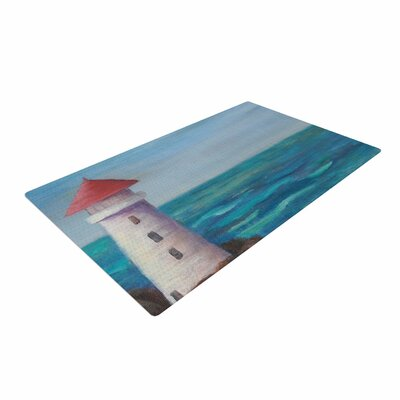 Cyndi Steen the Lighthouse Rocks Painting Blue Area Rug