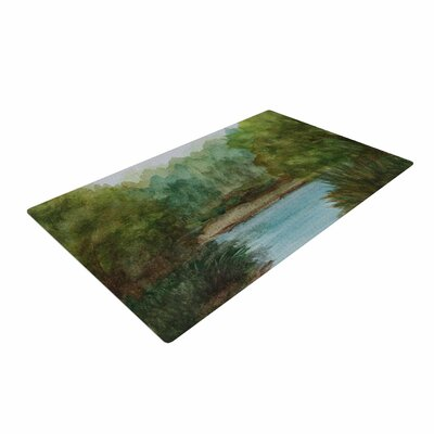 Cyndi Steen Blue Lake Channel Watercolor Green Area Rug