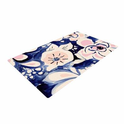 Crystal Walen Midnight Moon Flower Blue/Pink Area Rug