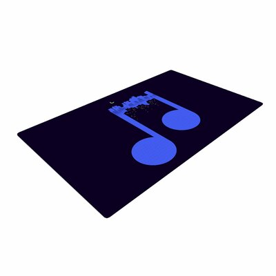 Digital Carbine Night Music Illustration Blue Area Rug