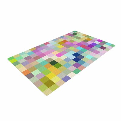 Dawid Roc Colorful Pixels Blue/Pink Area Rug Rug Size: 4 x 6