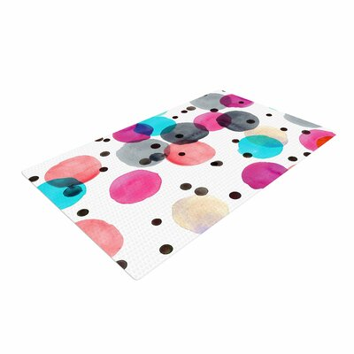 Crystal Walen Festive Watercolor Dots Pink/Black Area Rug