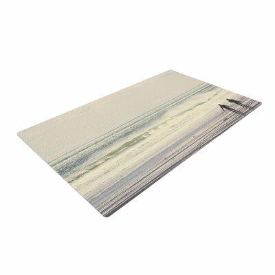 Debbra Obertanec Sun and Surf Teal/White Area Rug