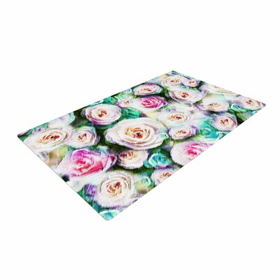 Dawid Roc Bright Rose Floral Abstract Floral Green Area Rug