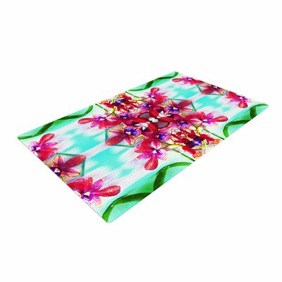 Dawid Roc Tropical Floral Orchids 2 Floral Pink Area Rug