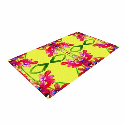 Dawid Roc Tropical Floral Orchids 1 Yellow/Red Area Rug