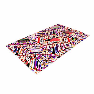 Dawid Roc Maze Geometric Abstract 2 Pattern Teal Area Rug