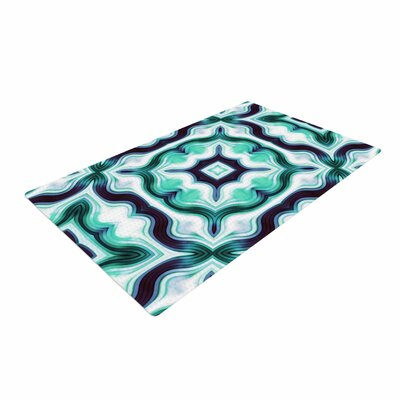 Dawid Roc Vintage Flower Pattern 3 Abstract Green Area Rug