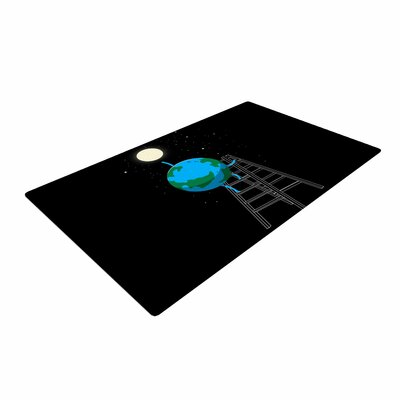 Digital Carbine Reach the Moon Illustration Blue Area Rug