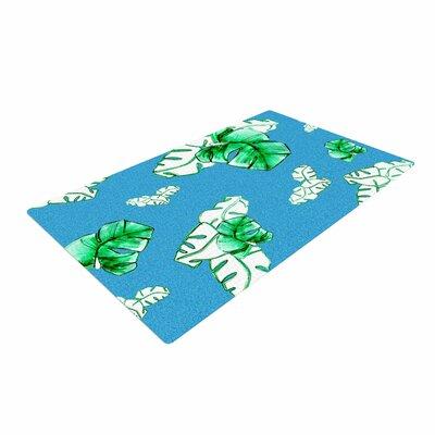 Danii Pollehn Palmtree Green/Blue Area Rug Rug Size: 4' x 6'