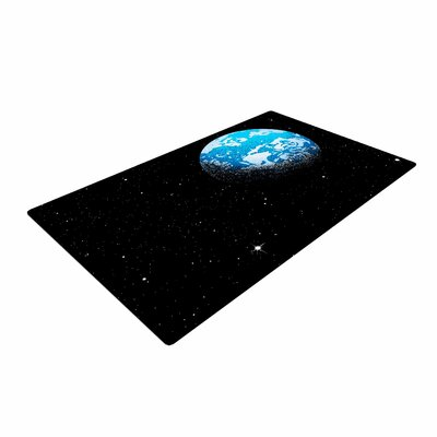 Digital Carbine From the Moon Geological Blue Area Rug
