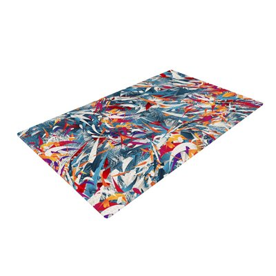 Danny Ivan Excited Colours Abstract Blue Area Rug