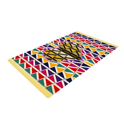 Famenxt Heart in Abstract Pattern Geometric Yellow/Red Area Rug Rug Size: 2 x 3