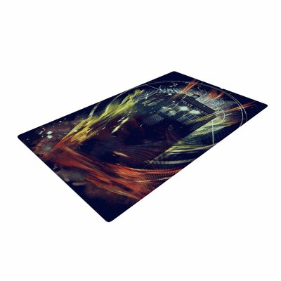 Frederic Levy-Hadida Its Lightfull Inside Fantasy Orange/Black/Yellow Area Rug Rug Size: 4 x 6