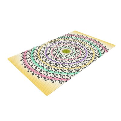 Famenxt Leafy Mandala Abstract Yellow/Green Area Rug Rug Size: 4 x 6