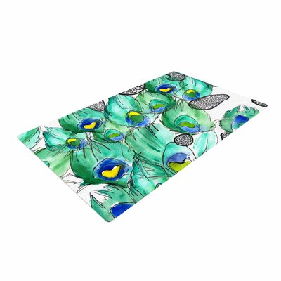 Danii Pollehn Peacockcell Animals Green Area Rug