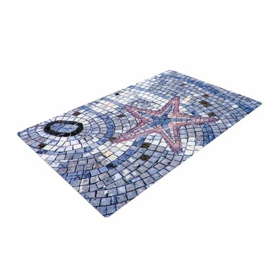 Debbra Obertanec Mosaic Starfish Nautical Blue Area Rug Rug Size: 4 x 6