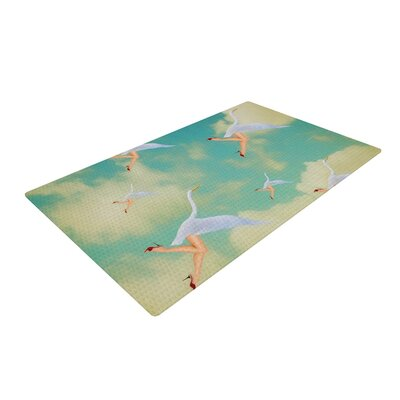 Natt Swan Teal/Yellow Area Rug