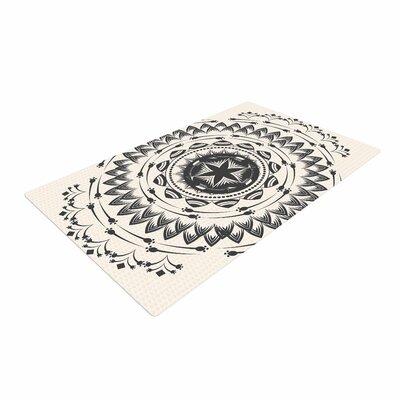 Famenxt Boho Tribe Mandala Beige/Black Area Rug Rug Size: 4 x 6