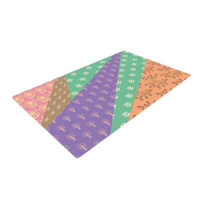 Famenxt Garden Digital Purple/Green/Brown Area Rug Rug Size: 4 x 6