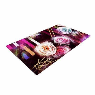 Dawid Roc Roses Floral Geometric Stripes Pink/Blue Area Rug