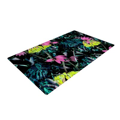 Fernanda Sternieri Night Garden Flowers Neon Yellow/Blue Area Rug Rug Size: 4 x 6
