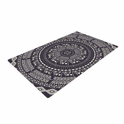 Famenxt Swadesi Boho Mandala Illustration Black Area Rug Rug Size: 2 x 3