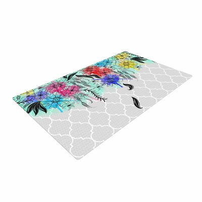 Famenxt Watercolor Spring Floral Gray Area Rug