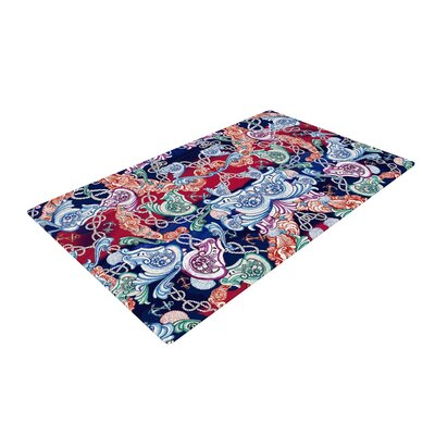 Fernanda Sternieri Barroque Sea Abstract Red/Blue Area Rug Rug Size: 2 x 3