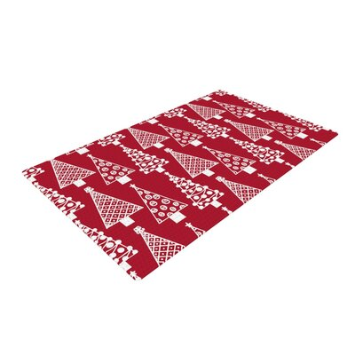 Emine Ortega Jolly Trees Red Crimson Red/White Area Rug