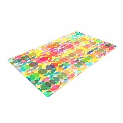 Fimbis SercuelarToo Geometric Circles Yellow/Green Area Rug