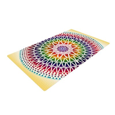 Famenxt Colorful Vibrant Mandala Geometric Rainbow Area Rug Rug Size: 2 x 3