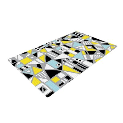 Emine Ortega Fun Geo Too Aqua/Yellow Area Rug Rug Size: 4 x 6