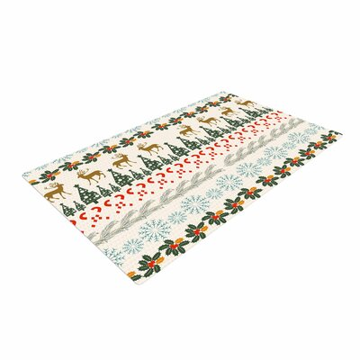 Famenxt Christmas Vibes Holiday Pattern Red/Green/White Area Rug