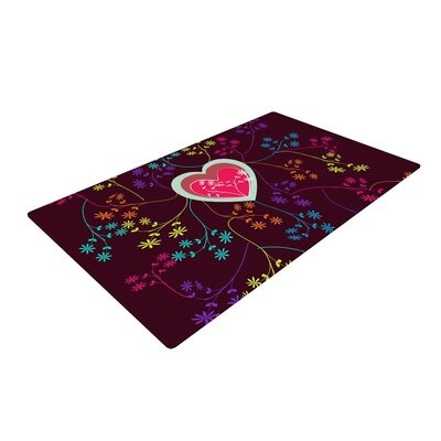 Famenxt Love Heart Red Area Rug Rug Size: 2 x 3