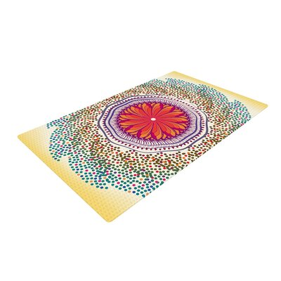 Famenxt Confetti Dots Mandala Abstract Red/Yellow Area Rug Rug Size: 2 x 3