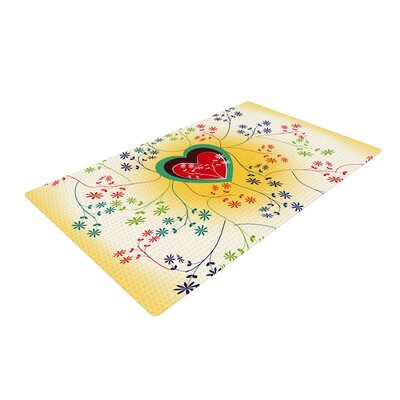 Famenxt Romantic Heart Yellow Area Rug Rug Size: 2 x 3