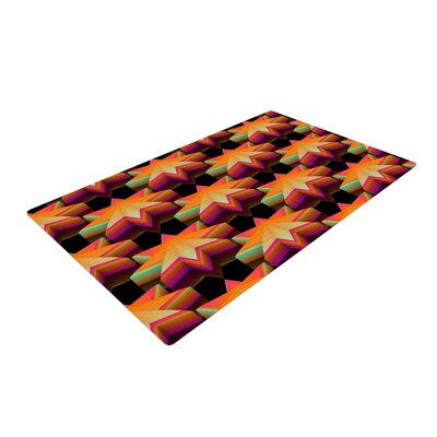 Danny Ivan Stars Pattern Black/Orange Area Rug