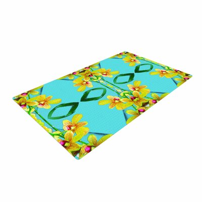 Dawid Roc Tropical Floral Orchids 3 Teal Area Rug Rug Size: 2 x 3