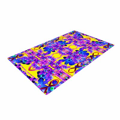 Dawid Roc Tropical Orchid Dark Floral 3 Purple/Yellow Area Rug