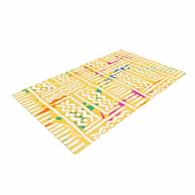 Dan Sekanwagi Lines And Zigzags  Colorful Tribal Yellow Area Rug
