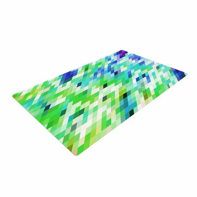 Dawid Roc Colorful Summer Geometric Abstract Green Area Rug