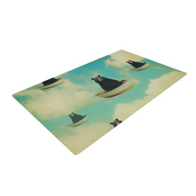 Natt Bears Floating Animals Black/Blue Area Rug Rug Size: 2 x 3