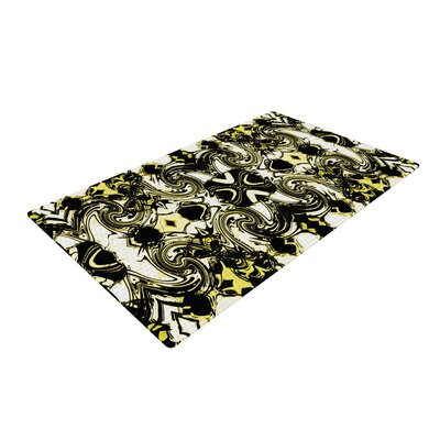 Dawid Roc the Palace Walls II Yellow/Black Area Rug