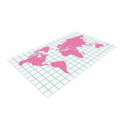 Famenxt Grid Map Mint Pink Green/Digital Area Rug Rug Size: 2 x 3