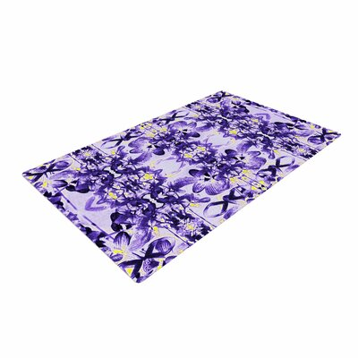 Dawid Roc Tropical Orchid Dark Floral 2 Purple/Lavender Area Rug