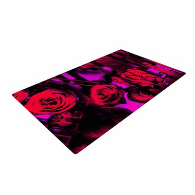 Dawid Roc Red Roses Flower Geometric Pink/Black Area Rug