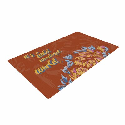 Gukuuki Wonderful World Typograpgy Brown Area Rug