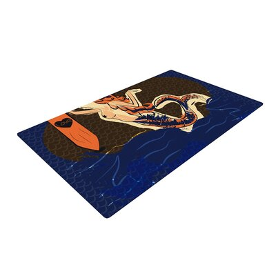 Famenxt Mermaid Blue/Orange Area Rug Rug Size: 4 x 6